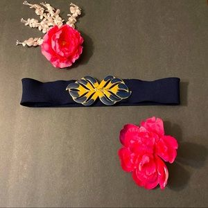 Vintage Navy elastic belt with floral clips